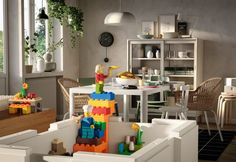 Both children and adults can benefit from the designs, said the designers, creating an alignment between how grown-ups perceive organising and how children perceive creative play.  IKEA and Lego also hope it will prevent parents from feeling the need to tidy up while the kids are still playing, as the two will coincide. Lego Storage Boxes, Storage Bins, Built In Sofa, Ikea Family, Starter Set, Lego Group, White Box, Tidy Up, Lego Brick