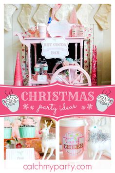 Shabby Pickle Parties's Christmas/Holiday / Holly/Christmas - Hot Cocoa Bar at Catch My Party Christmas Cocktails, Christmas Holidays, Christmas Baby, Christmas Ideas, Diy Party, Party Ideas, Hot Cocoa Bar, Hot Chocolate Bars, Party Activities