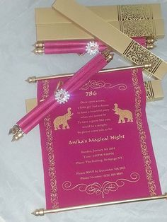 Decorative Scroll invitation with rhinestone decoration (Set of - - Arabian party invitation <br> Color Print Outlet is the one stop destination for Silk and Satin Invitations, Scroll wedding Invitations in MD, VA and DC area Scroll Wedding Invitations, Scroll Invitation, Wedding Invitation Cards, Wedding Cards, Party Invitations, Invitation Ideas, Sweet 16 Invitations, Quinceanera Invitations, Invitation Templates