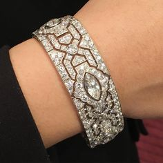 Art Deco Cartier bracelet. Magnificent Jewels auction New York 9 June. On view… #diamondbracelets