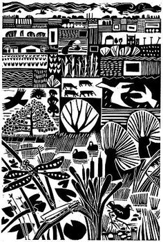 Fenlife Linocut by Carry Akroyd Gravure Illustration, Illustration Art, Linocut Prints, Art Prints, Block Prints, Motifs Textiles, Linoleum Block Printing, Linoprint, Arte Popular