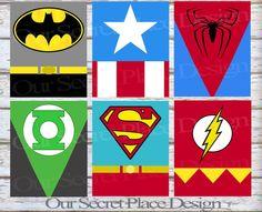 PRINTABLE Any Size Superhero Kids Wall Art Decor Nursery Playroom Superman Green Lantern Flash Batman Captain America Spiderman