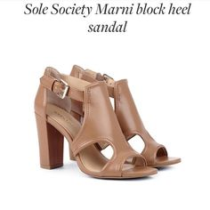 Sole Society Marni Block Heel Sandal Brown Size 6 #SoleSociety #OpenToe