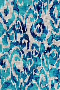 Ikat Peacock Blue by nouveau_bohemian.  Turquoise and royal blue ikat design on fabric, wallpaper, and gift wrap.