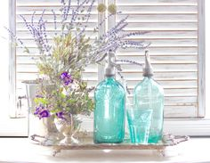 Vintage European Seltzer Bottle in Teal Blue Glass by MariesMaison
