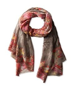 Saachi Women's Watercolor Floral Scarf, Taupe