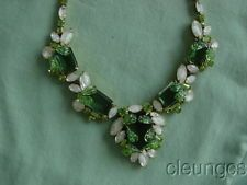 Vintage Hattie Carnegie Green & Clear Givre Rhinestone Necklace - Signed Rare