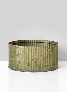 7 1/2in Corrugated Patina Zinc Round Bowl