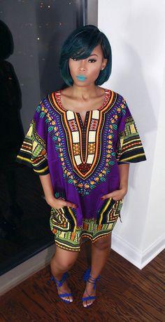 Violette africaine Dashiki robe/Top par MuurSwagg sur Etsy