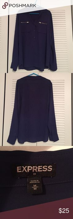 Express Navy Shirt Express Navy Shirt with Zipper Detail. Size Medium Express Tops Blouses