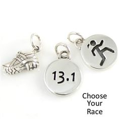 $55: Sporty Gal-Race-Running Shoe Charm Combo -   This is a great way to add running-inspired charm to your existing collect or simply add to a necklace for a simple statement. Included is a sterling silver Sporty Gal Round Runner Charm, a sterling race charm of your choice, and a cute sterling silver Running Shoe Charm. This combo purchased separately retails for $70.00, save $15 when purchased as a set! #InspiredEndurance #runnerjewelry #runnerbling #triathlon #runnergirl #handmade…