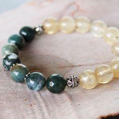 Agate, citrine and sterling silver bracelet 💚💛