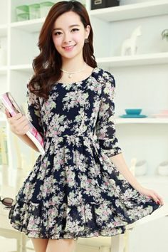 Nice Floral Chiffon Dress OASAP.com