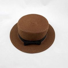 Vintage Style Women Flat Top Black Bowknot Straw Hat Large Brimmed Sunshade Hat