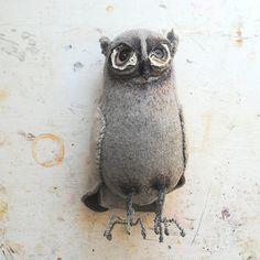 {Grey Woodland Owl} textile art