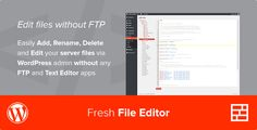 Fresh File Editor - WordPress Plugin . Fresh has features such as High Resolution: Yes, Compatible Browsers: IE8, IE9, IE10, IE11, Firefox, Safari, Opera, Chrome, Software Version: WordPress 4.0, WordPress 3.9