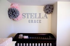 Albany Brooklynn's wall looks similar. Except we have one larger pom hanging center ceiling & have longer pieces tule hanging (like celing mobile) from itlike canopy:)