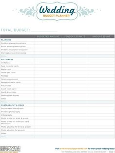Wedding Budget Template – 13  Free Word, Excel, PDF Documents ...