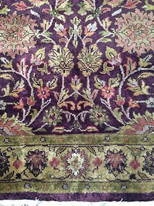 Purple Eggplant Indian Persian Hand Knotted Oriental Area Rug 4 X 6 100%  Wool