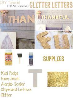 DIY Thanksgiving Glitter Letters
