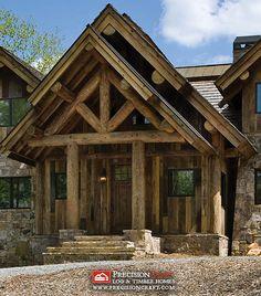Exterior Entrance | Post & Beam Log Home | PrecisionCraft Log Homes by PrecisionCraft Log Homes & Timber Frame, via Flickr