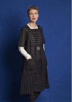Gestreiftes/einfarbiges Kleid aus Öko-Baumwolle 75704-94.tif