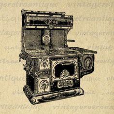Printable Image Antique Stove Download Kitchen Illustration