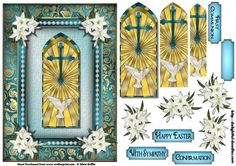Stained Glass Cross with Lilies PY on Craftsuprint designed by Silvia Griffin - Lovely Cross with lilies in a gorgeous frame. Tags include: With Sympathy, Confirmation, Happy Easter, First Communion and a blank.  - Now available for download!