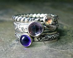 Sterling silver stacking ring set gemstone purple amethyst rainbow moonstone pattern wire  - French Lavender