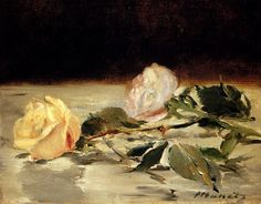 """""""Two Roses On A Tablecloth"""" (c. 1882-1883), by French artist - Edouard Manet (1832-1883),  Oil on canvas, 19.3 x 24.2 cm. (7 1/2 x 9 1/2 in.), Private collection."""