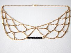 Delicate Gold Chain Collar Necklace with Black Swarovski Beading - Minimal Jewellery / Jewelry. £15.00, via Etsy.