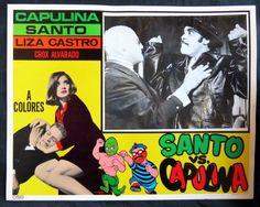"""SANTO CONTRA CONTRA CAPULINA"" LIZA CASTRO NEAR MINT ORIG LOBBY CARD PHOTO 1968"