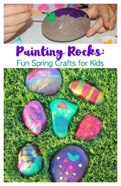We decided on painting rocks. We went outside to hunt for some pretty fist-sized rocks that are smooth. Here are some wonderful and fun crafts for kids. fun kids Painting Rocks: Fun Crafts for Kids Spring Crafts For Kids, Fun Crafts For Kids, Summer Crafts, Toddler Crafts, Creative Crafts, Projects For Kids, Art For Kids, Art Projects, Kid Art