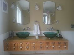 "Previous pinner: ""Repurposed library card file into bathroom vanity. All the drawers open"" -- SH: I love this!"