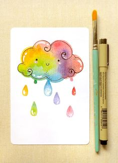 Rainbow Cloud Art Print: Kawaii Cute Colorful Rainbow Giclee Illustration Print for Home, Nursery Art, Reproduction Art, Children& Room Kawaii Drawings, Cute Drawings, Watercolor Cards, Watercolor Paintings, Watercolours, Happy Paintings, Watercolor Ideas, Watercolor Print, Art Kawaii