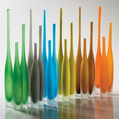 Colorful spire bottles by Global Views