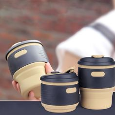 Creative foldable outdoor coffee cups/Portable food-grade silicone retractable drink water cups