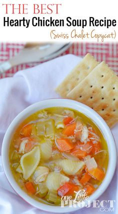 Everyone has their own spin on a chicken soup recipe. It's one of those things that uses such simple ingredients but brings so much comfort. Hearty Chicken Soup, Vegetarian Chicken, Chicken Soup Recipes, Simple Chicken Soup Recipe, Healthy Chicken, Healthy Soup, Healthy Recipes, Healthy Eats, Healthy Foods