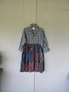 Bohemian prairie dress upcycled clothing patchwork fall tunic X Large 1 X…
