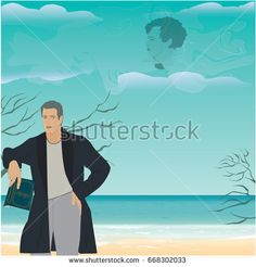 Man with book in hand on background of sea landscape - clouds and poetry image of poet, art, creative, modern vector illustration