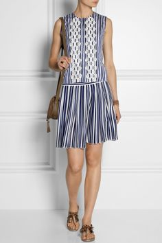 Vanessa Bruno Alexa striped silk crepe de chine skirt