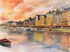 Watercolor / Aquarelle  – Coucher de soleil sur Honfleur. #drawing #watercolor #painting #art