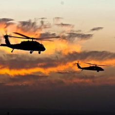 Blackhawks helicopter over Kandahar Air Base-Afghanistan