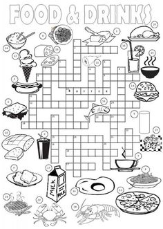 This is a picture crossword for teaching or revising food related vocabulary . Recommended for elementary students who are asked to complete the crossword using the across and down clues and Vocabulary Worksheets, Worksheets For Kids, English Vocabulary, English Grammar, English Resources, English Activities, English Lessons, Kids English, Learn English