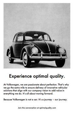 "A rewrite of VW's classic ""Lemon"" ad."