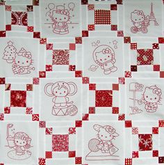 Hello Kitty Quilt - lots of patterns for lots of squares #embroidery #pattern