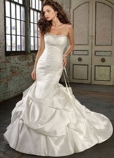 Ivory Strapless Sweep Train Mermaid Trumpet Satin Wedding Dress  $159.99 #wedding #Bridal #weddingdress