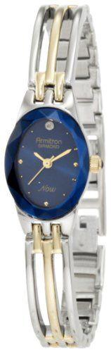 Armitron Women's 752641BLU NOW Diamond Accented Two-Tone Bangle Blue Dial Dress Watch
