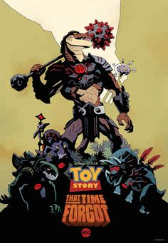 """Pixar TV special """"Toy Story That Time Forgot"""" poster by Mike Mignola (Hellboy) for Comic Con 2014 (+ Incredibles poster by Mignola for Comic Con in memorial) Mike Mignola Art, Comic Book Artists, Comic Artist, Comic Books Art, Comics Illustration, Illustrations, Disney Insider, New Toy Story, San Diego Comic Con"""