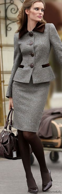 Grey suit with brown velvet trim